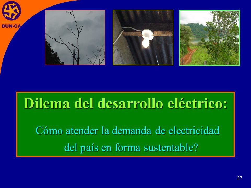 27 Dilema del desarrollo eléctrico: Cómo atender la demanda de electricidad Cómo atender la demanda de electricidad del país en forma sustentable.