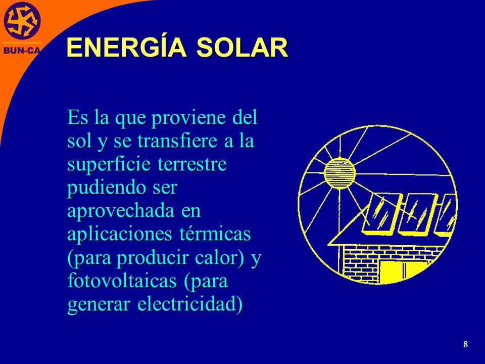 8 Es la que proviene del sol y se transfiere a la superficie terrestre pudiendo ser aprovechada en aplicaciones térmicas (para producir calor) y fotovoltaicas (para generar electricidad) ENERGÍA SOLAR