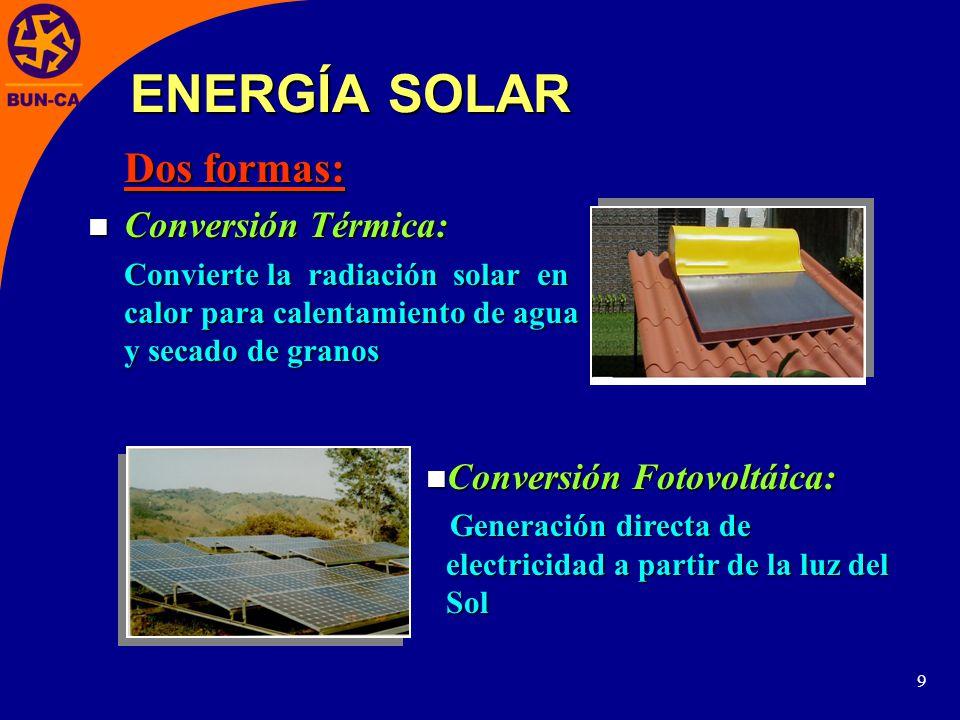 9 Dos formas: Conversión Térmica: Conversión Térmica: Convierte la radiación solar en calor para calentamiento de agua y secado de granos Conversión Fotovoltáica: Conversión Fotovoltáica: Generación directa de electricidad a partir de la luz del Sol Generación directa de electricidad a partir de la luz del Sol ENERGÍA SOLAR