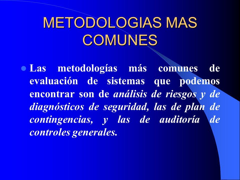 METODOLOGIAS MAS COMUNES Las metodologías más comunes de evaluación de sistemas que podemos encontrar son de análisis de riesgos y de diagnósticos de seguridad, las de plan de contingencias, y las de auditoría de controles generales.
