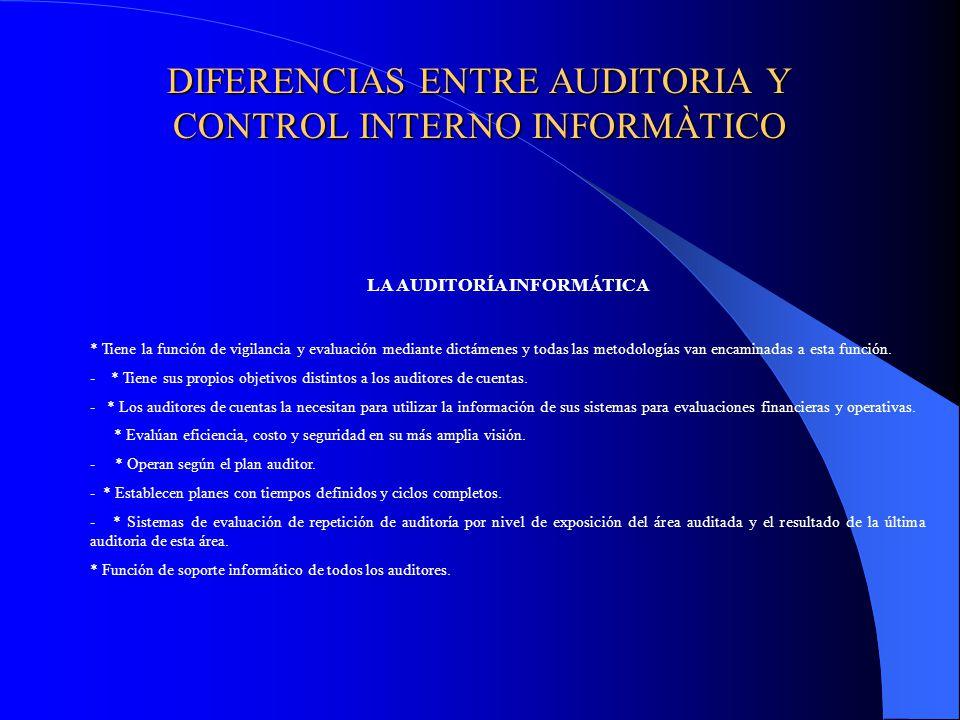 DIFERENCIAS ENTRE AUDITORIA Y CONTROL INTERNO INFORMÀTICO LA AUDITORÍA INFORMÁTICA * Tiene la función de vigilancia y evaluación mediante dictámenes y todas las metodologías van encaminadas a esta función.