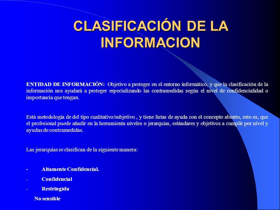 CLASIFICACIÓN DE LA INFORMACION ENTIDAD DE INFORMACIÓN: Objetivo a proteger en el entorno informático, y que la clasificación de la información nos ayudará a proteger especializando las contramedidas según el nivel de confidencialidad o importancia que tengan.