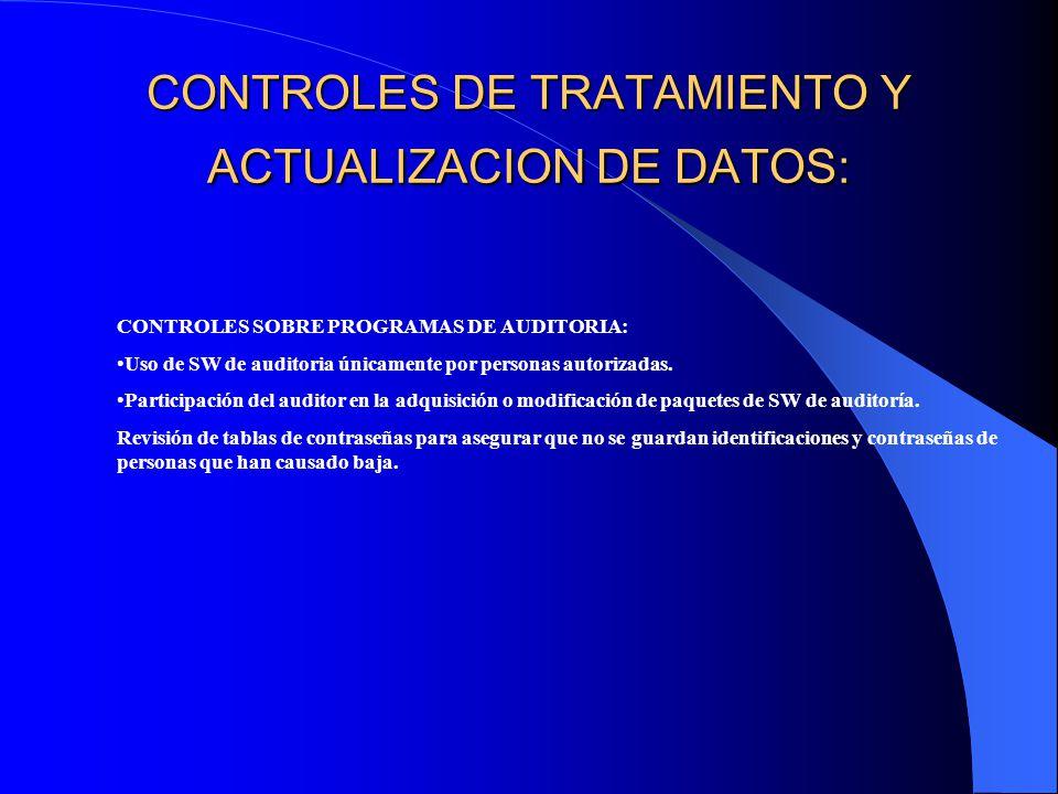 CONTROLES DE TRATAMIENTO Y ACTUALIZACION DE DATOS: CONTROLES SOBRE PROGRAMAS DE AUDITORIA: Uso de SW de auditoria únicamente por personas autorizadas.