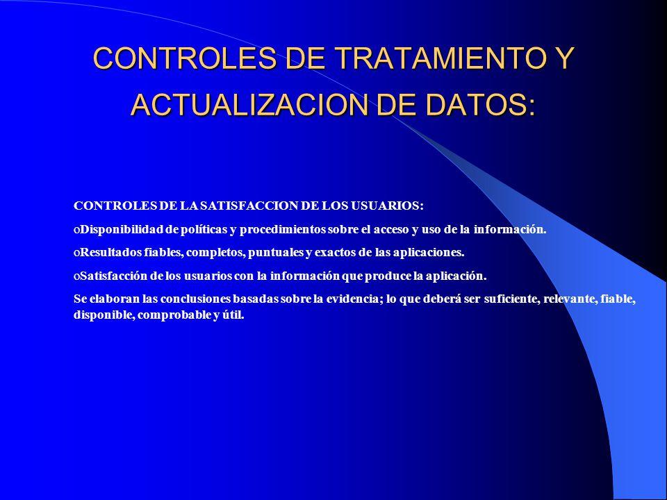CONTROLES DE TRATAMIENTO Y ACTUALIZACION DE DATOS: CONTROLES DE LA SATISFACCION DE LOS USUARIOS: oDisponibilidad de políticas y procedimientos sobre el acceso y uso de la información.