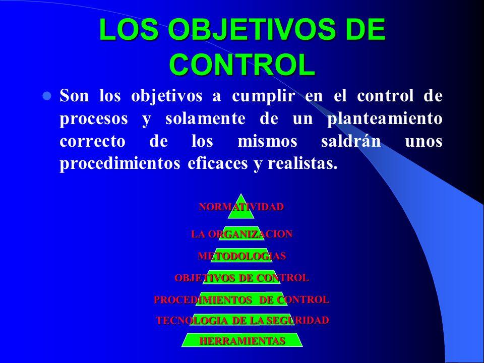 LOS OBJETIVOS DE CONTROL Son los objetivos a cumplir en el control de procesos y solamente de un planteamiento correcto de los mismos saldrán unos procedimientos eficaces y realistas.