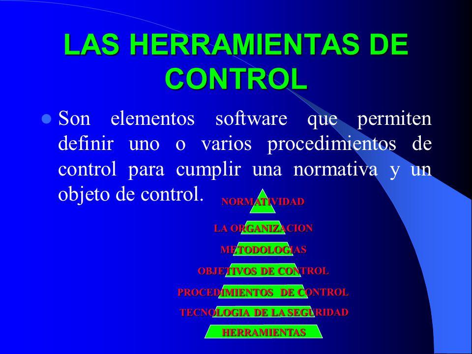 LAS HERRAMIENTAS DE CONTROL Son elementos software que permiten definir uno o varios procedimientos de control para cumplir una normativa y un objeto de control.