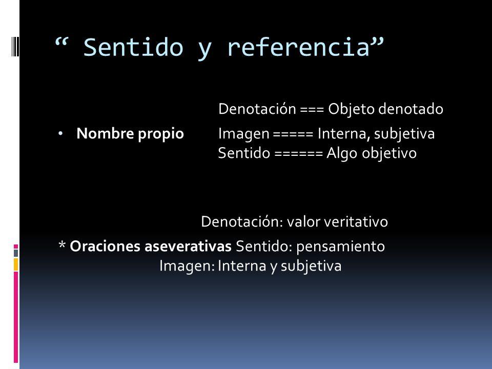 Sentido y referencia Denotación === Objeto denotado Nombre propio Imagen ===== Interna, subjetiva Sentido ====== Algo objetivo Denotación: valor verit