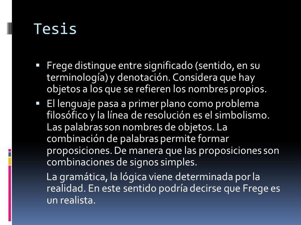 Tesis Frege distingue entre significado (sentido, en su terminología) y denotación. Considera que hay objetos a los que se refieren los nombres propio
