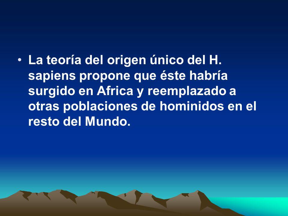 La teoría del origen único del H. sapiens propone que éste habría surgido en Africa y reemplazado a otras poblaciones de hominidos en el resto del Mun