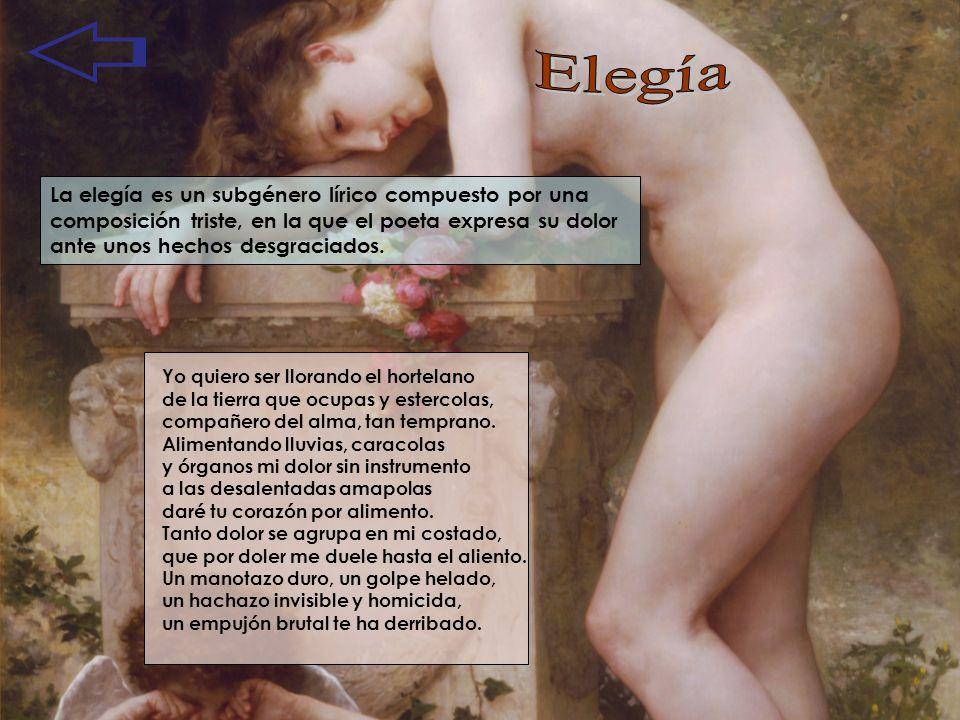 La elegía es un subgénero lírico compuesto por una composición triste, en la que el poeta expresa su dolor ante unos hechos desgraciados. Yo quiero se