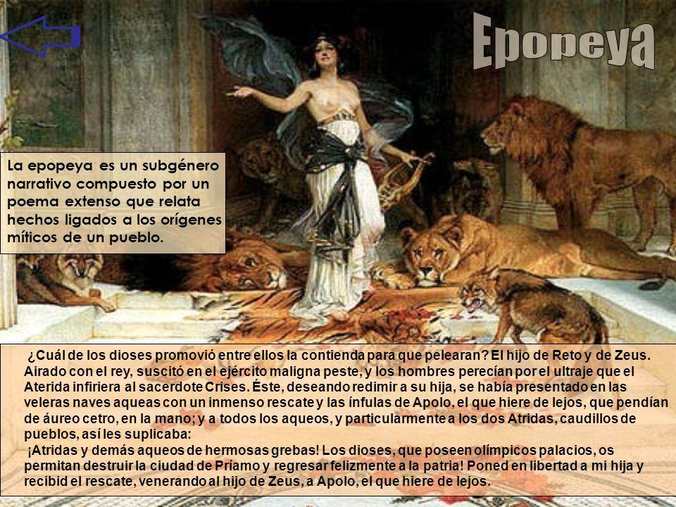 La epopeya es un subgénero narrativo compuesto por un poema extenso que relata hechos ligados a los orígenes míticos de un pueblo. ¿Cuál de los dioses