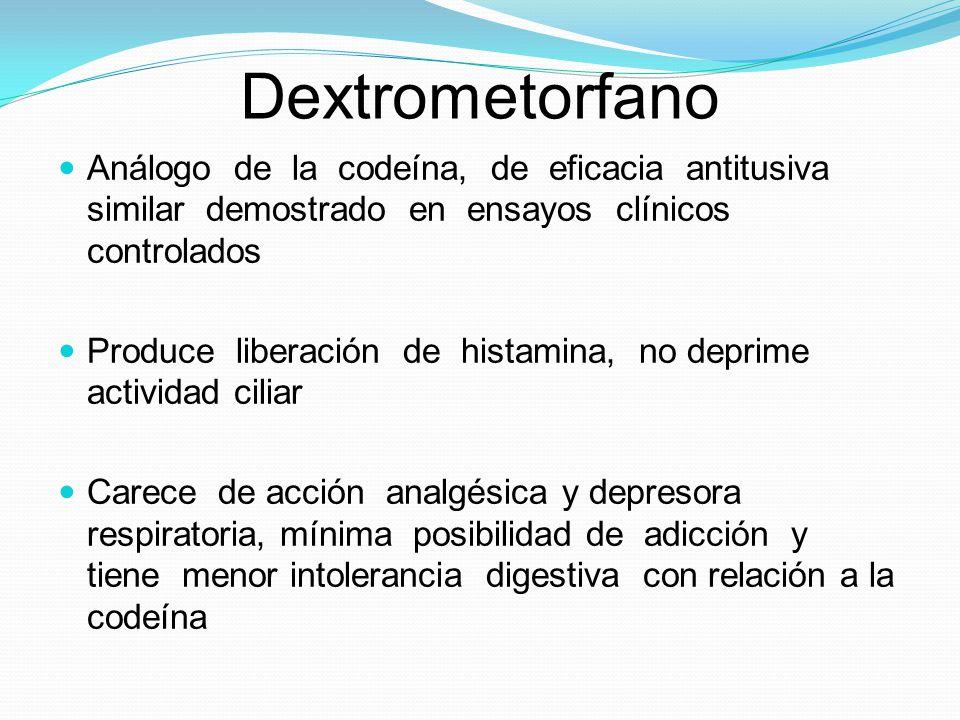 Dextrometorfano Análogo de la codeína, de eficacia antitusiva similar demostrado en ensayos clínicos controlados Produce liberación de histamina, no d