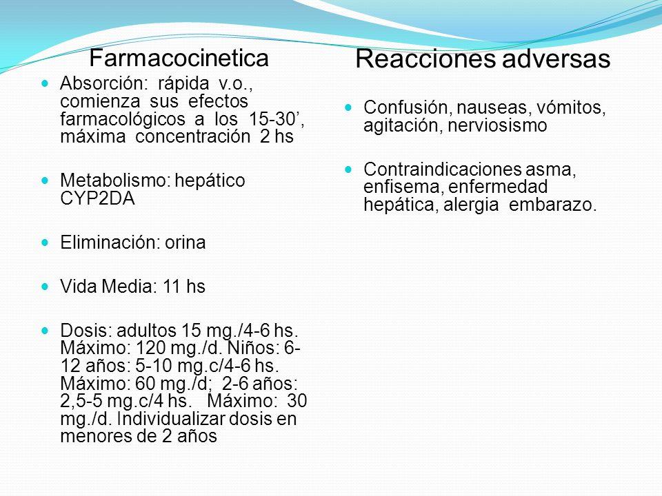 Farmacocinetica Absorción: rápida v.o., comienza sus efectos farmacológicos a los 15-30, máxima concentración 2 hs Metabolismo: hepático CYP2DA Elimin