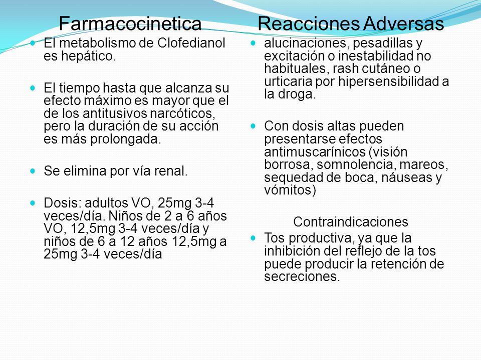 Farmacocinetica El metabolismo de Clofedianol es hepático. El tiempo hasta que alcanza su efecto máximo es mayor que el de los antitusivos narcóticos,
