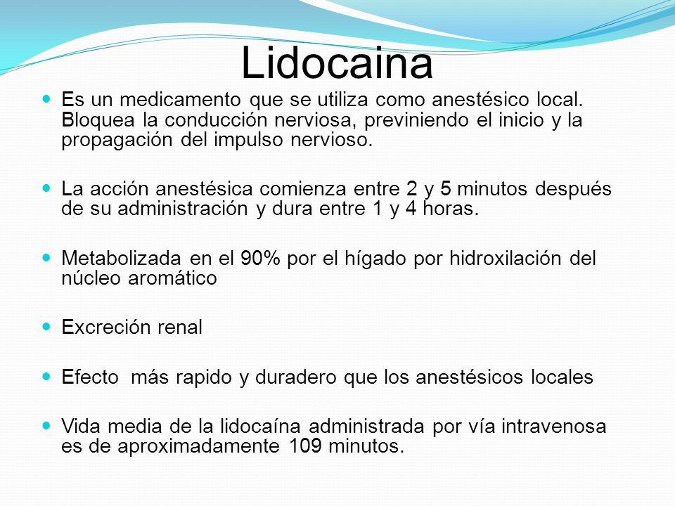 Lidocaina Es un medicamento que se utiliza como anestésico local. Bloquea la conducción nerviosa, previniendo el inicio y la propagación del impulso n