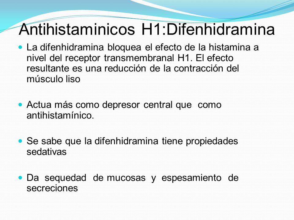 Antihistaminicos H1:Difenhidramina La difenhidramina bloquea el efecto de la histamina a nivel del receptor transmembranal H1. El efecto resultante es