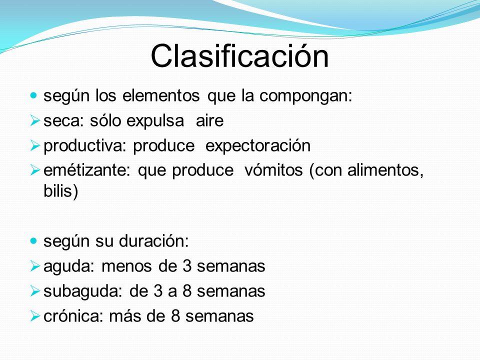 Clasificación según los elementos que la compongan: seca: sólo expulsa aire productiva: produce expectoración emétizante: que produce vómitos (con ali