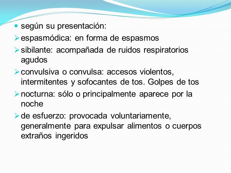 según su presentación: espasmódica: en forma de espasmos sibilante: acompañada de ruidos respiratorios agudos convulsiva o convulsa: accesos violentos