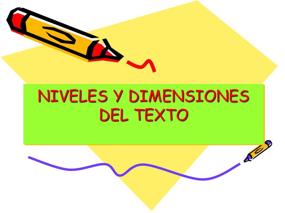 NIVELES Y DIMENSIONES DEL TEXTO