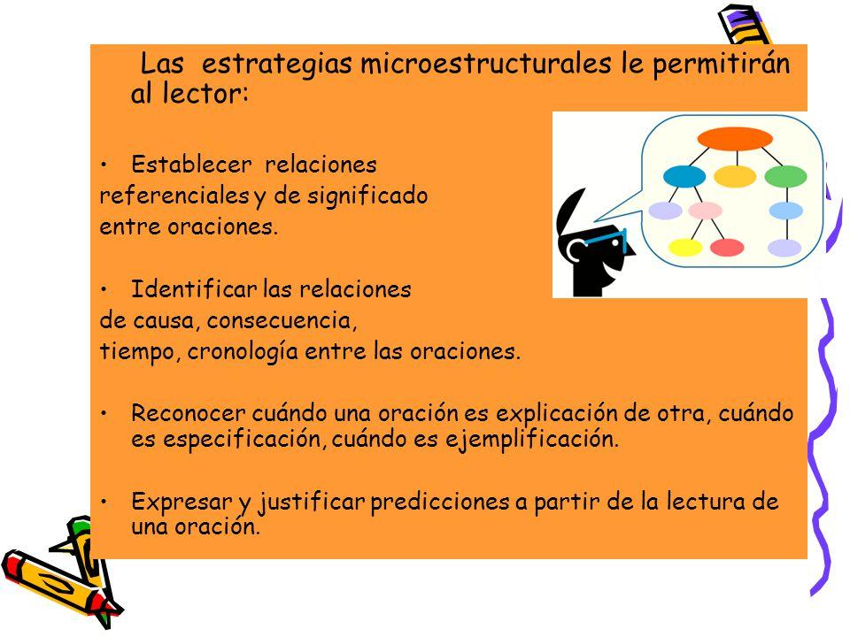 Las estrategias microestructurales le permitirán al lector: Establecer relaciones referenciales y de significado entre oraciones. Identificar las rela