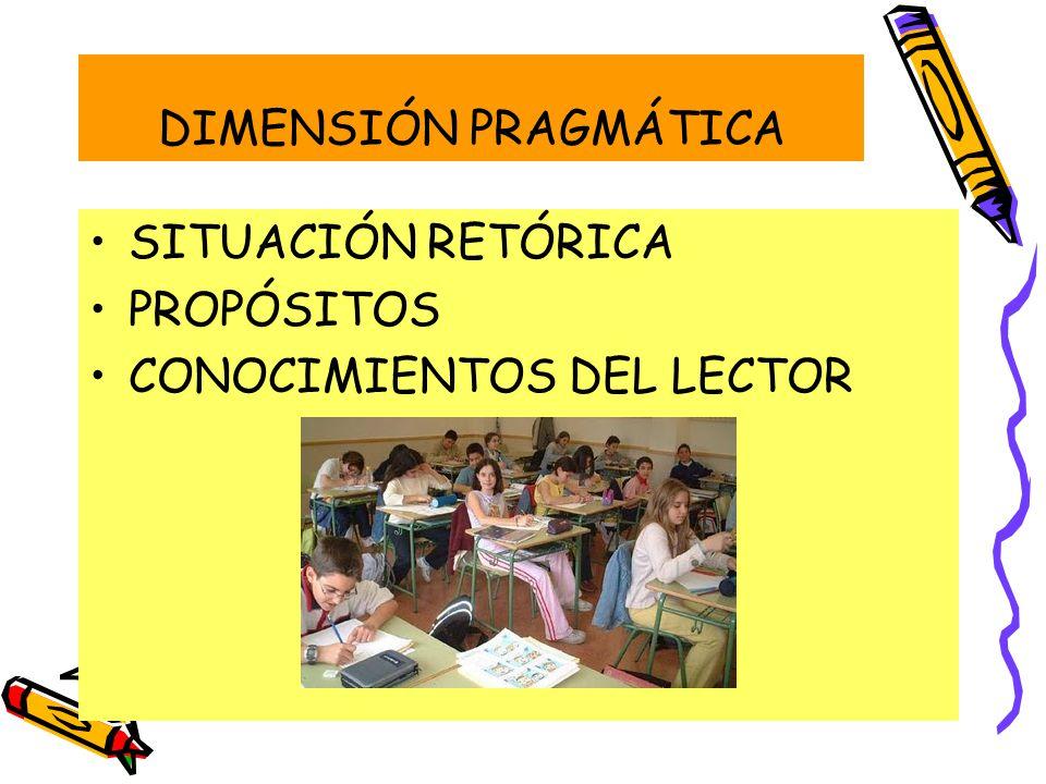 DIMENSIÓN PRAGMÁTICA SITUACIÓN RETÓRICA PROPÓSITOS CONOCIMIENTOS DEL LECTOR