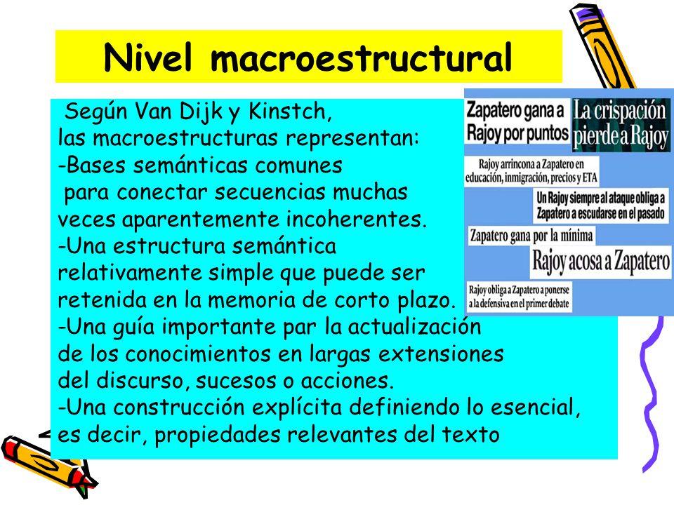 Nivel macroestructural Según Van Dijk y Kinstch, las macroestructuras representan: -Bases semánticas comunes para conectar secuencias muchas veces apa