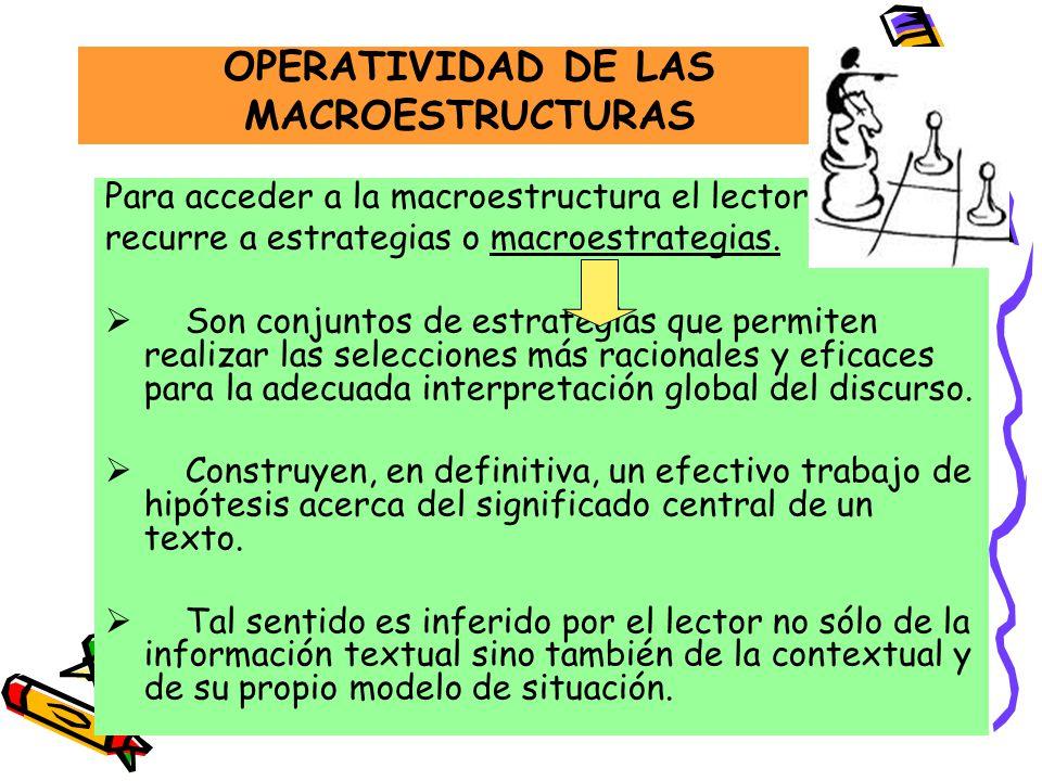 OPERATIVIDAD DE LAS MACROESTRUCTURAS Para acceder a la macroestructura el lector recurre a estrategias o macroestrategias. Son conjuntos de estrategia