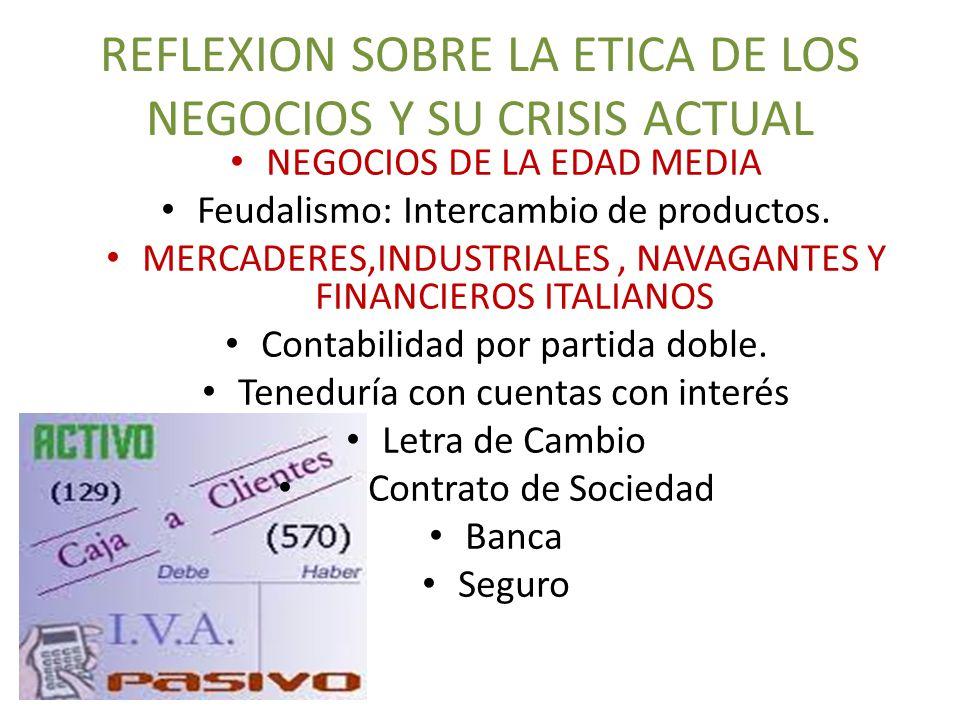 REFLEXION SOBRE LA ETICA DE LOS NEGOCIOS Y SU CRISIS ACTUAL NEGOCIOS DE LA EDAD MEDIA Feudalismo: Intercambio de productos.