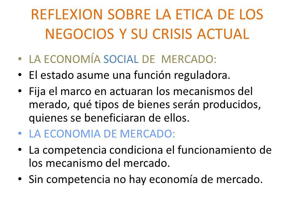 REFLEXION SOBRE LA ETICA DE LOS NEGOCIOS Y SU CRISIS ACTUAL LA ECONOMÍA SOCIAL DE MERCADO: El estado asume una función reguladora.