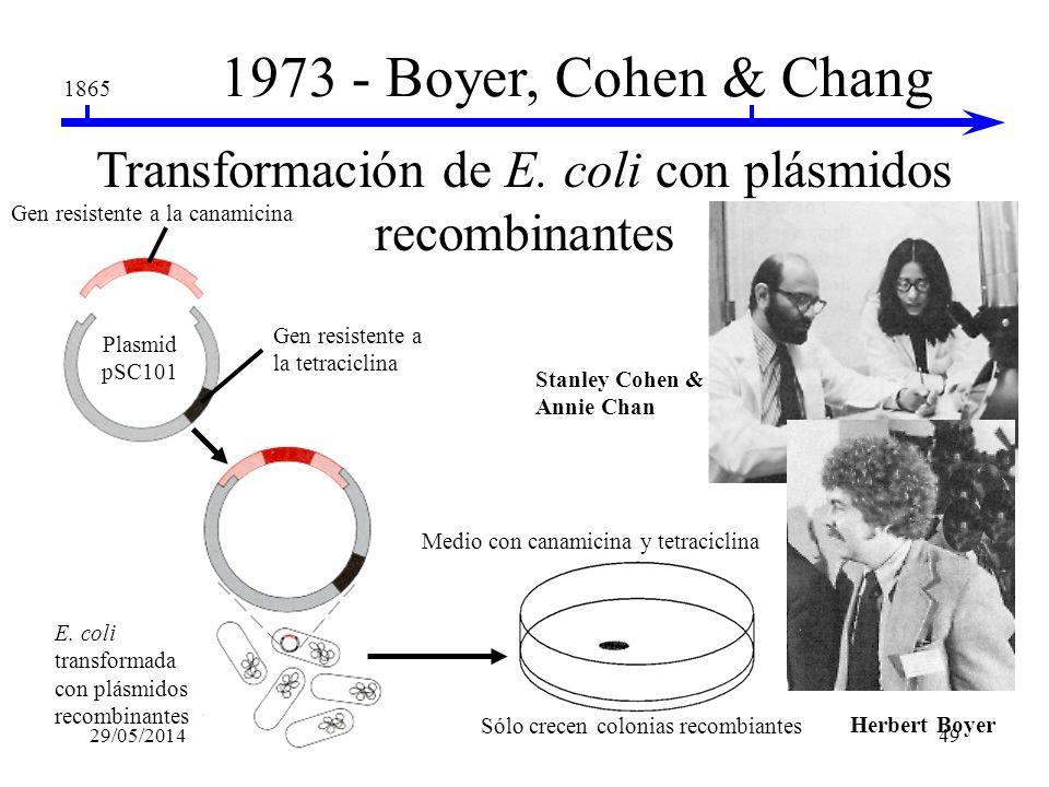 1865 1972 - Paul Berg El primer DNA recombinante utilizando EcoRI Sitios de reconocimientoEcoRI DNA plasmidico EcoRI corta el DNA en fragmentos Extrem