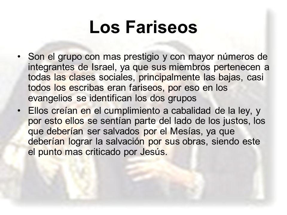 Los Fariseos Son el grupo con mas prestigio y con mayor números de integrantes de Israel, ya que sus miembros pertenecen a todas las clases sociales,