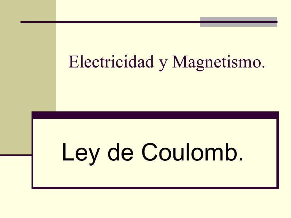 Electricidad y Magnetismo. Ley de Coulomb.