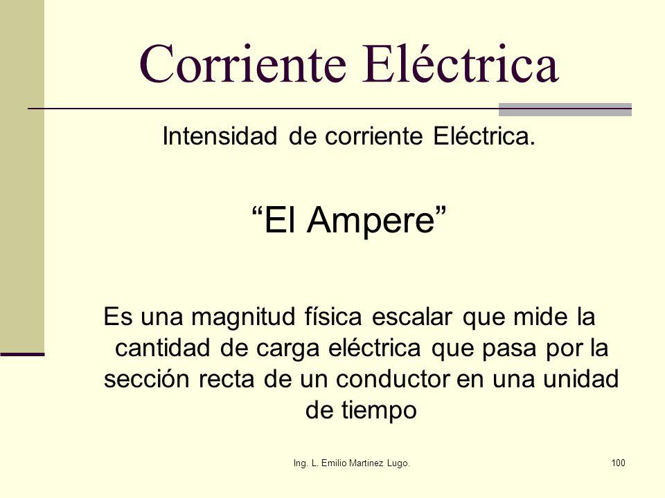 Ing. L. Emilio Martinez Lugo.100 Corriente Eléctrica Intensidad de corriente Eléctrica. El Ampere Es una magnitud física escalar que mide la cantidad