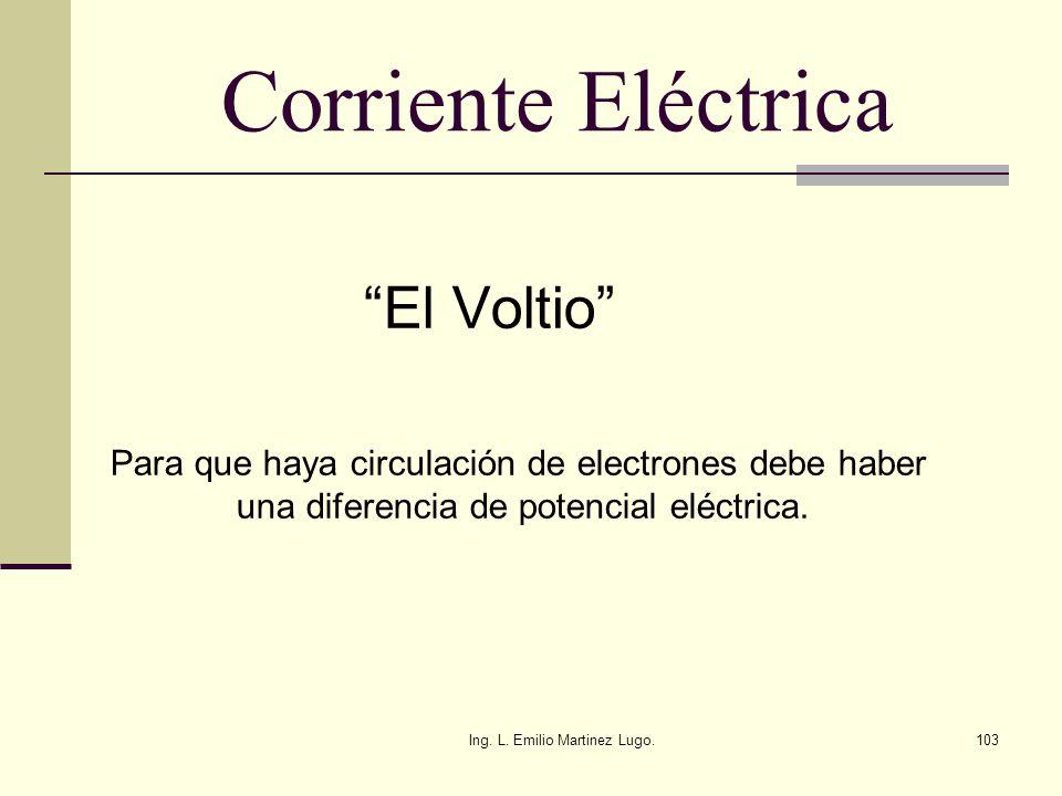 Ing. L. Emilio Martinez Lugo.103 Corriente Eléctrica El Voltio Para que haya circulación de electrones debe haber una diferencia de potencial eléctric