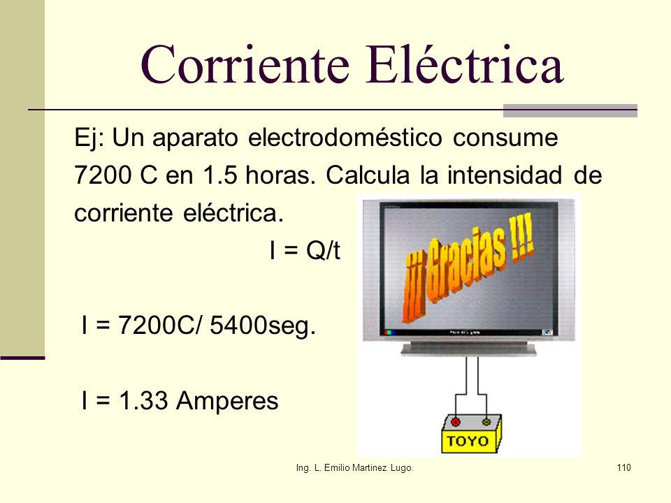 Ing. L. Emilio Martinez Lugo.110 Corriente Eléctrica Ej: Un aparato electrodoméstico consume 7200 C en 1.5 horas. Calcula la intensidad de corriente e