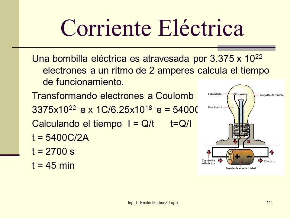 Ing. L. Emilio Martinez Lugo.111 Corriente Eléctrica Una bombilla eléctrica es atravesada por 3.375 x 10 22 electrones a un ritmo de 2 amperes calcula