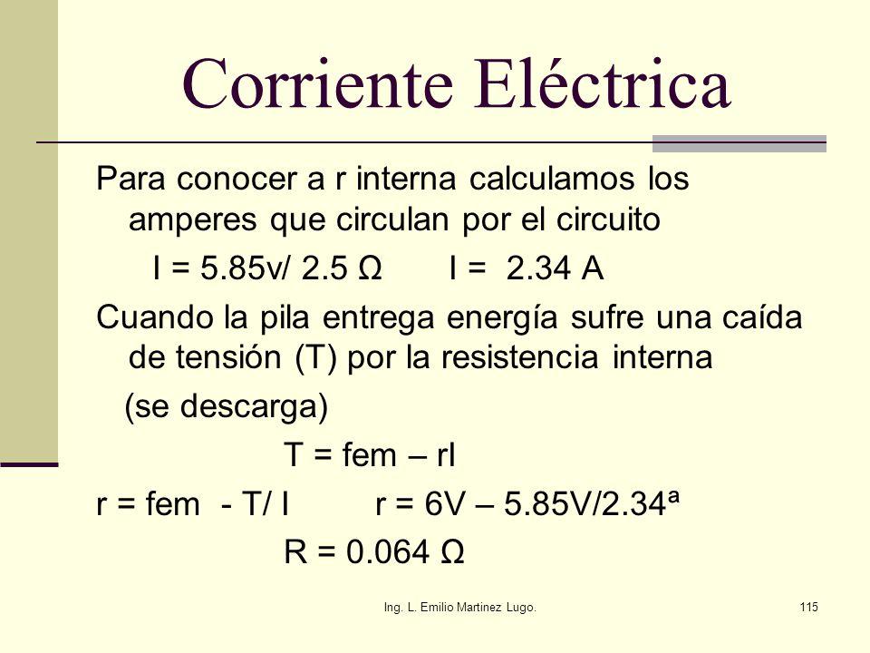 Ing. L. Emilio Martinez Lugo.115 Corriente Eléctrica Para conocer a r interna calculamos los amperes que circulan por el circuito I = 5.85v/ 2.5 Ω I =