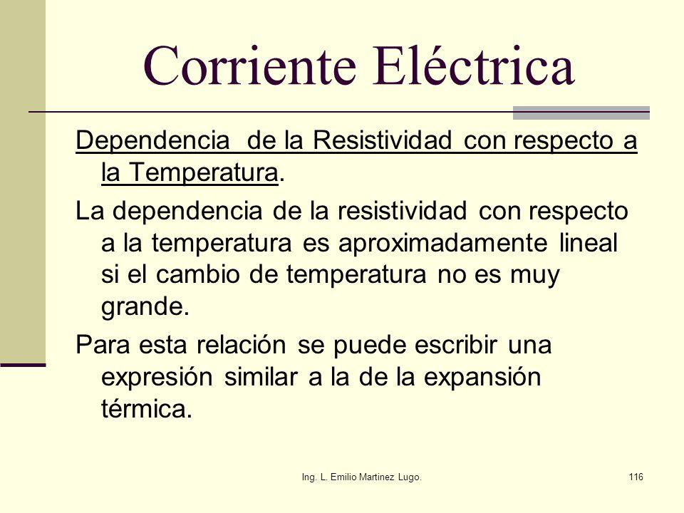 Ing. L. Emilio Martinez Lugo.116 Corriente Eléctrica Dependencia de la Resistividad con respecto a la Temperatura. La dependencia de la resistividad c
