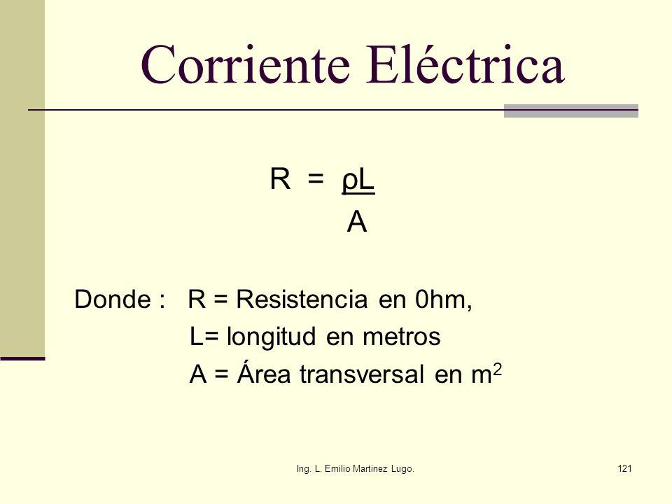 Ing. L. Emilio Martinez Lugo.121 Corriente Eléctrica R = ρL A Donde : R = Resistencia en 0hm, L= longitud en metros A = Área transversal en m 2