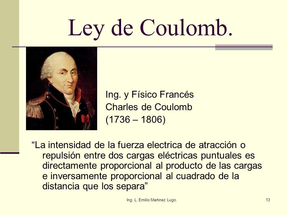 Ing. L. Emilio Martinez Lugo.13 Ley de Coulomb. Ing. y Físico Francés Charles de Coulomb (1736 – 1806) La intensidad de la fuerza electrica de atracci