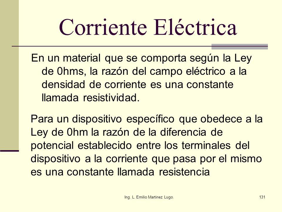 Ing. L. Emilio Martinez Lugo.131 Corriente Eléctrica En un material que se comporta según la Ley de 0hms, la razón del campo eléctrico a la densidad d