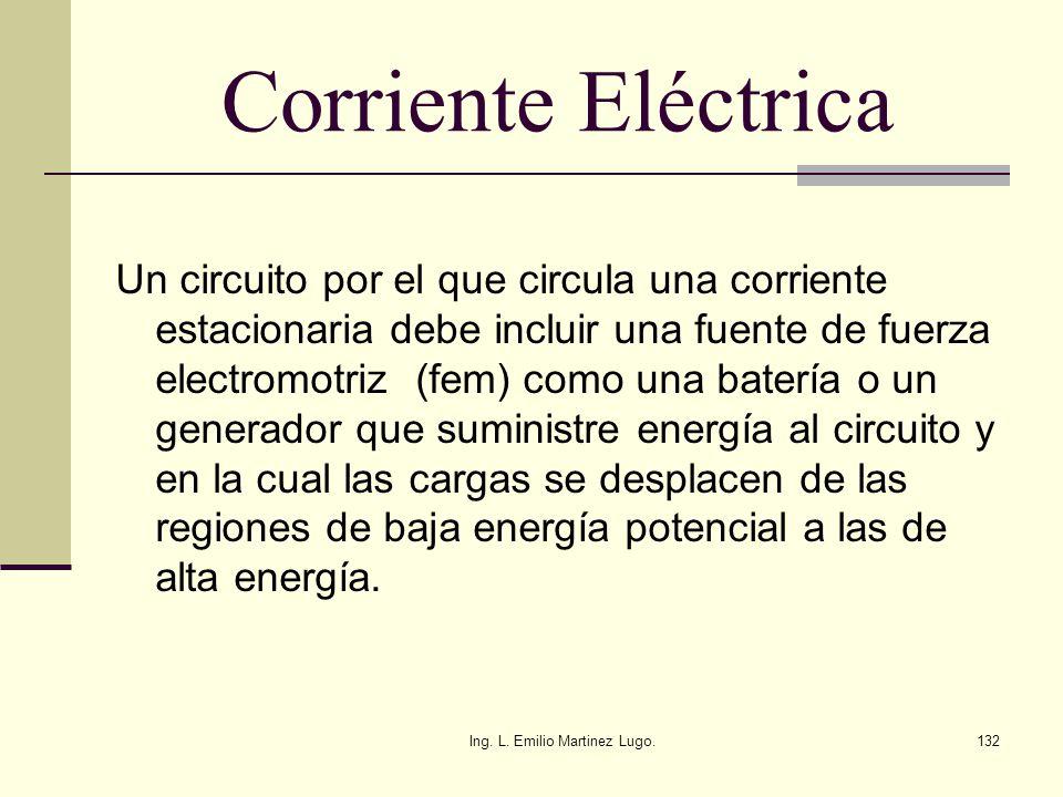 Ing. L. Emilio Martinez Lugo.132 Corriente Eléctrica Un circuito por el que circula una corriente estacionaria debe incluir una fuente de fuerza elect