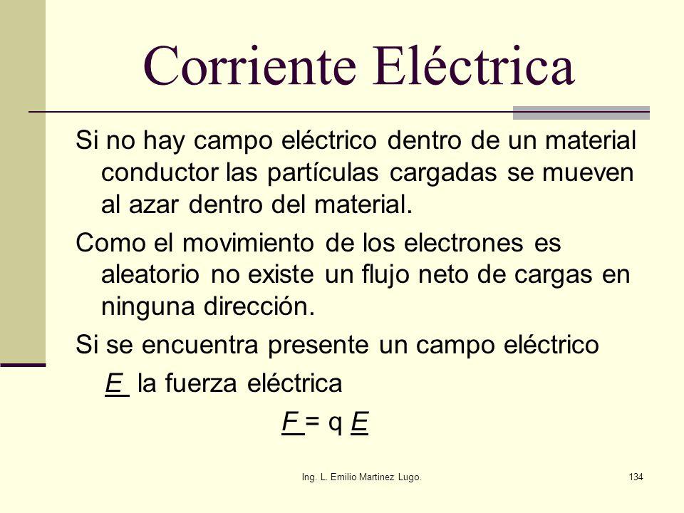 Ing. L. Emilio Martinez Lugo.134 Corriente Eléctrica Si no hay campo eléctrico dentro de un material conductor las partículas cargadas se mueven al az