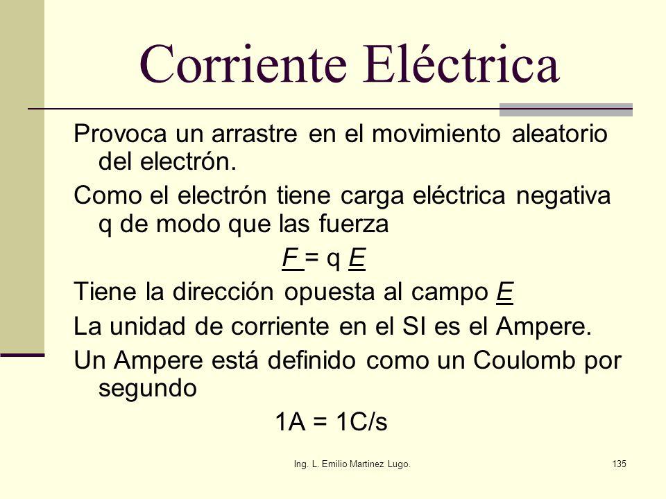 Ing. L. Emilio Martinez Lugo.135 Corriente Eléctrica Provoca un arrastre en el movimiento aleatorio del electrón. Como el electrón tiene carga eléctri