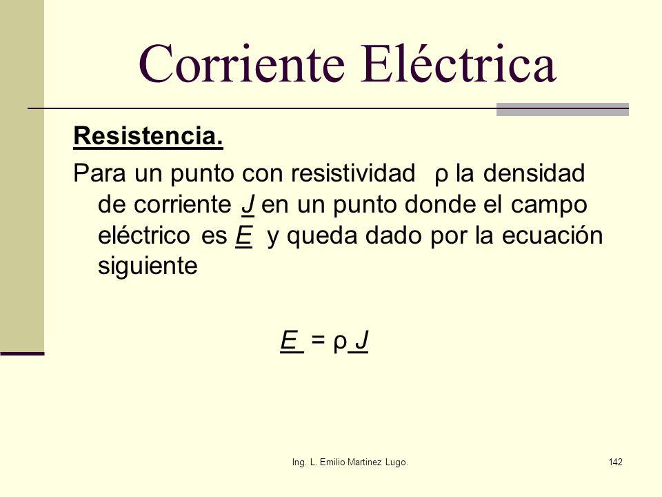 Ing. L. Emilio Martinez Lugo.142 Corriente Eléctrica Resistencia. Para un punto con resistividad ρ la densidad de corriente J en un punto donde el cam