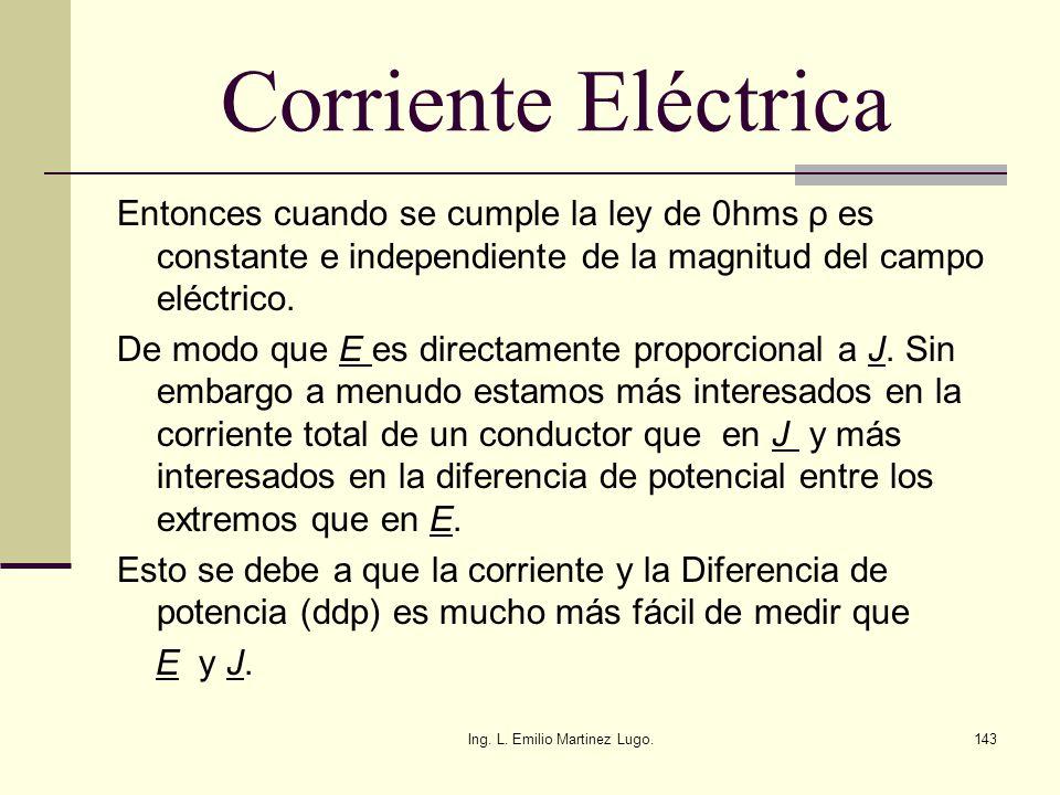 Ing. L. Emilio Martinez Lugo.143 Corriente Eléctrica Entonces cuando se cumple la ley de 0hms ρ es constante e independiente de la magnitud del campo