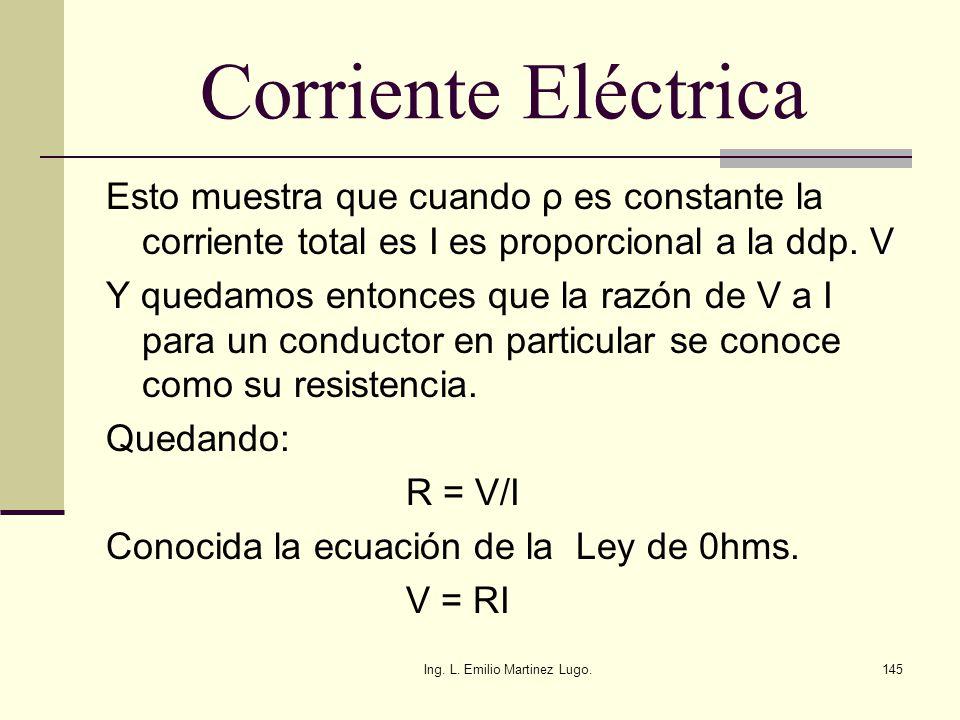 Ing. L. Emilio Martinez Lugo.145 Corriente Eléctrica Esto muestra que cuando ρ es constante la corriente total es I es proporcional a la ddp. V Y qued