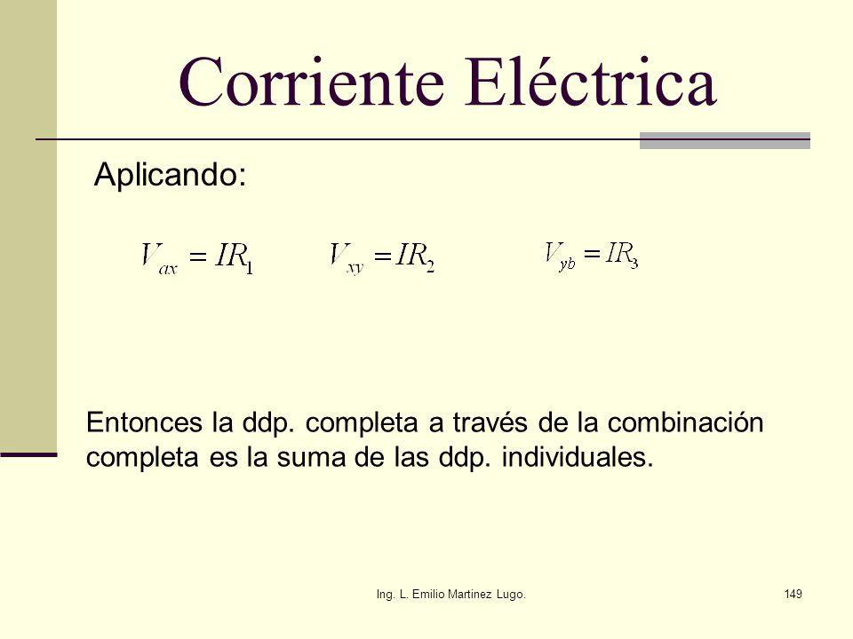 Ing. L. Emilio Martinez Lugo.149 Corriente Eléctrica Aplicando: Entonces la ddp. completa a través de la combinación completa es la suma de las ddp. i