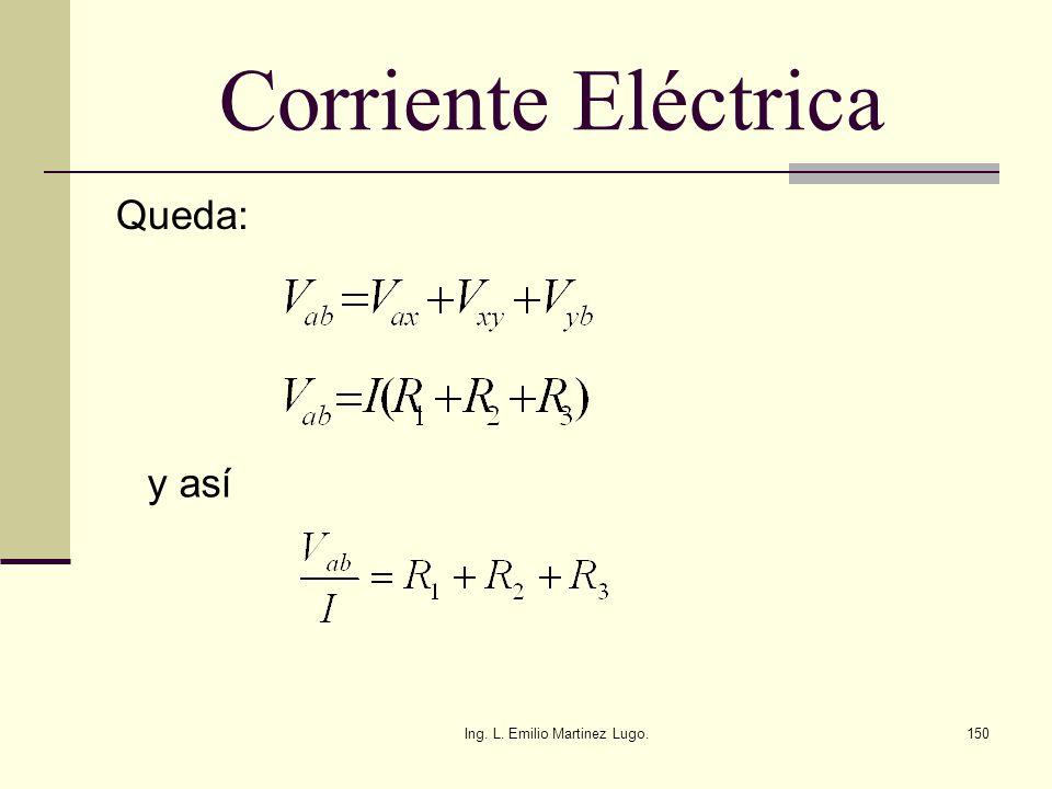 Ing. L. Emilio Martinez Lugo.150 Corriente Eléctrica Queda: y así