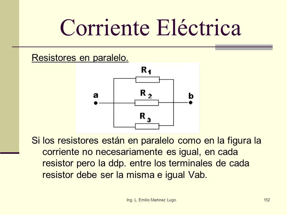 Ing. L. Emilio Martinez Lugo.152 Corriente Eléctrica Resistores en paralelo. Si los resistores están en paralelo como en la figura la corriente no nec
